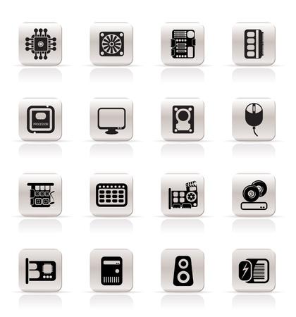 cd case: Simple el rendimiento del equipo y los iconos de equipo - Vector Icon Set Vectores