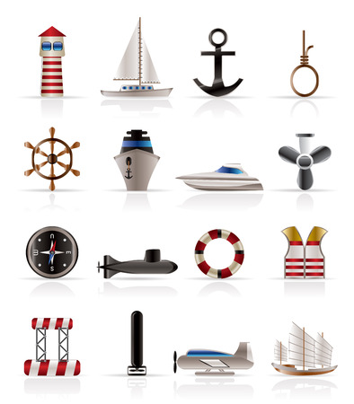 Marine, Sailing and Sea Icons - Vector Icon Set Vector