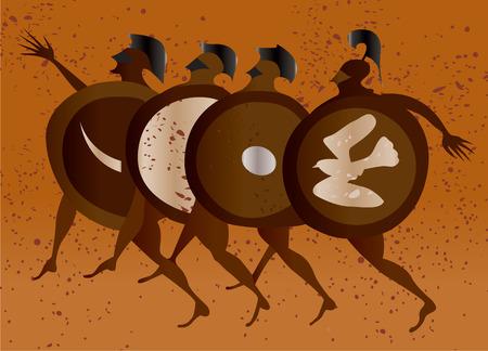 grecia antigua: Grecia pintura mural, los soldados griegos. Editable del vector de imagen
