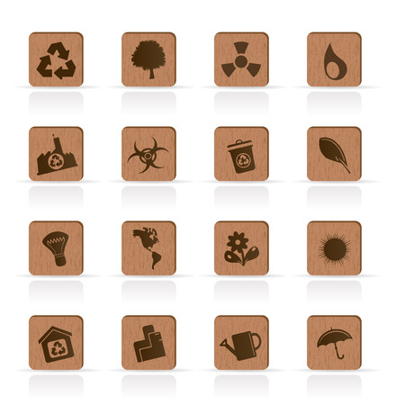 Wooden Ecology icons - Vector Icon Set Vector