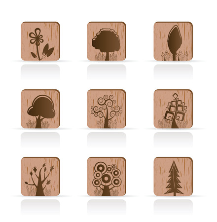 Wooden Tree Collection icons - Vector Icon Set Vector