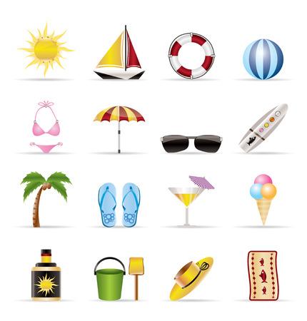 sun lotion: Realista y de vacaciones de verano Iconos - Vector Icon Set