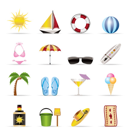 Realistic Summer and Holiday Icons - Vector Icon Set Vector