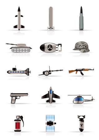 cisterne: Realistiche armi, le armi e la guerra delle icone - Vector icona impostare Vettoriali