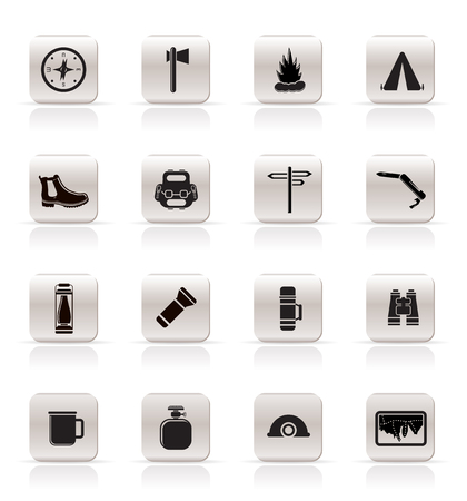 Simple Tourism and Holiday Vector Icon Set Vector