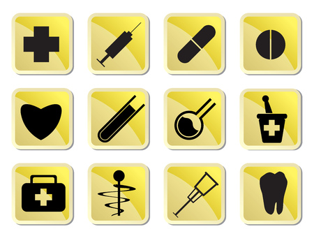 a snake in a bag: Medical Icon - vector icon set