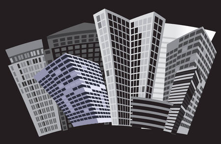 Black and white city. Vector art Vector