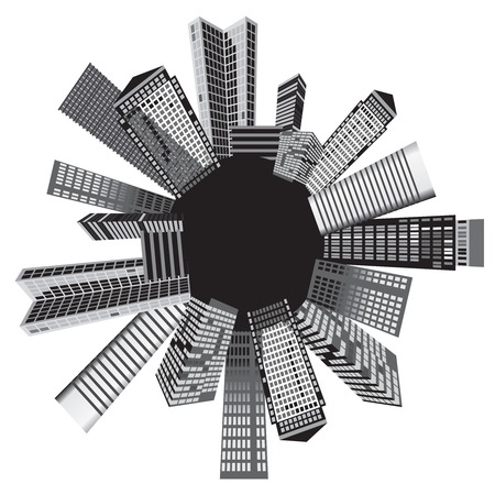 skyscrapers: Black and white cities. Vector art.