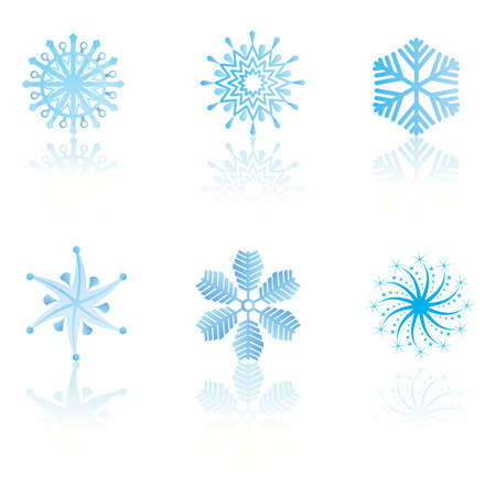 beautiful cold crystal gradient snowflakes - vector illustration. Vector