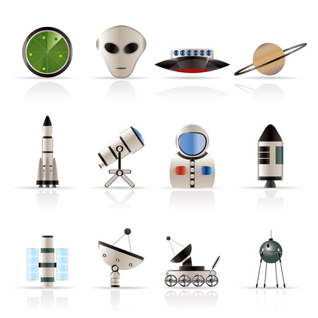Astronautics and Space Icons - Vector Icon Set 2 Vector