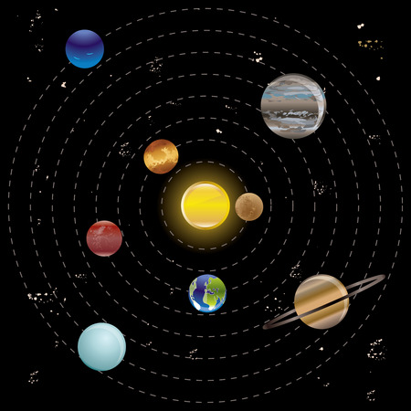distant: Planets and sun from our solar system. Vector illustration.