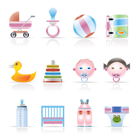 Child, Baby and Baby Online Shop Icons - Vector Icon Set Stock Vector - 5014177