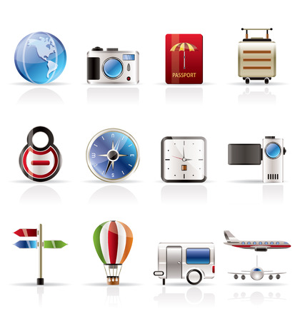 Realistic, Vacation, Holiday and Travel Icons - Vector Icon Set Vector