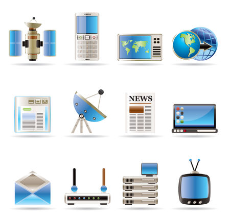 Realistic Communication and Busines Icons - Vector Icon Set Vector