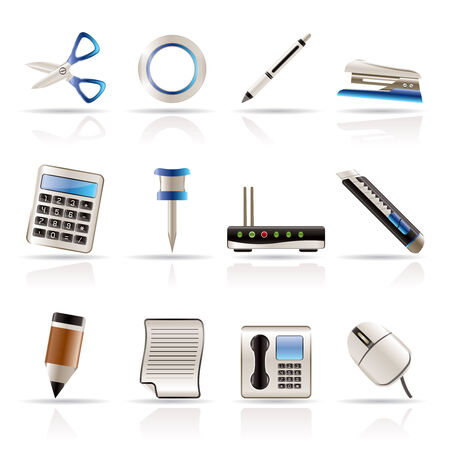 Realistic Business and Office Icons - Vector Icon Set Vector