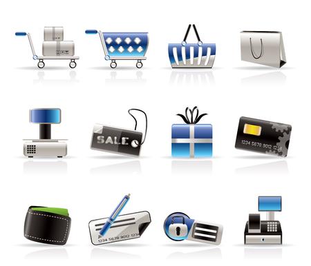 hand cart: Tienda Online Iconos Vector Icon Set