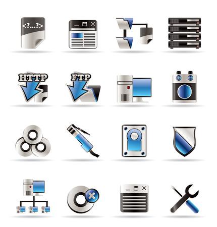 PC iconos del lado del servidor - Vector Icon Set