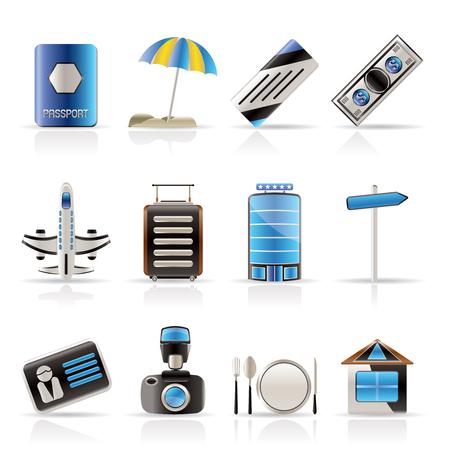 Travel, Holiday and Trip Icons -  Vector Icon Set Stock Vector - 5086329