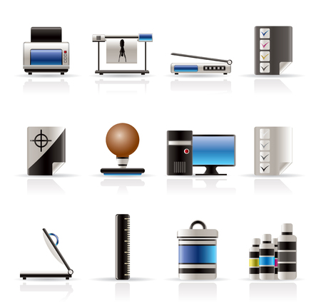 Realistic Print industry icons - Vector Icon set Stock Vector - 5086326