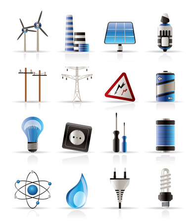 Elektriciteit, kracht en energie icons - vector icon set