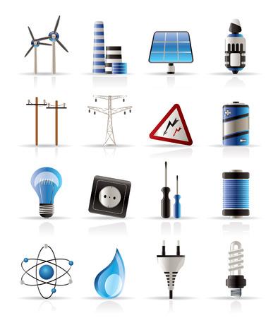 bombillo ahorrador: La electricidad, la energ�a y los iconos de la energ�a - icono de vectores se Vectores