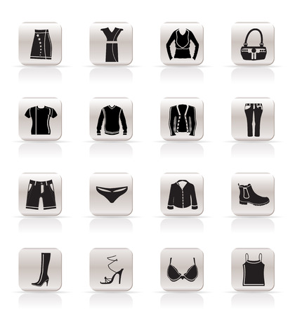 Simple Clothing and Dress Icons - Vector Icon Set Vector
