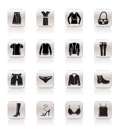 シンプルな服やドレスのアイコン - ベクトル アイコンを設定
