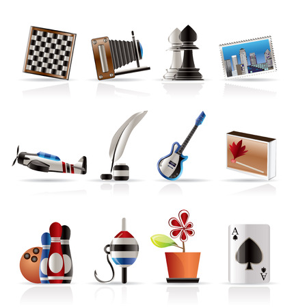 Hobby, Leisure and Holiday Icons - Vector Icon Set Vector