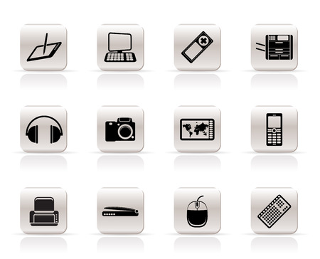 Simple Hi-tech technical equipment icons - vector icon set 3 Stock Vector - 5185633