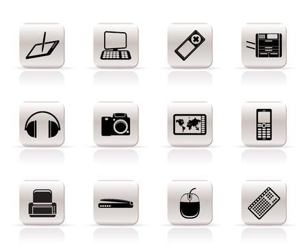 Simple Hi-tech technical equipment icons - vector icon set 3 Vector