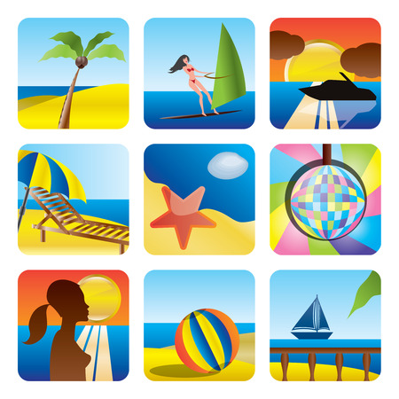 Holiday, Summer and Sea Icons -vector Icon Set Vector