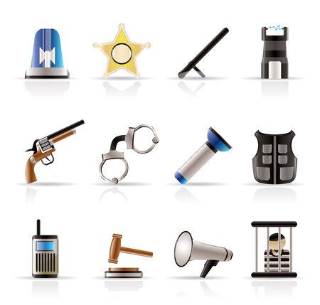 legge, l'ordine, la polizia e la criminalità icone - vettore icona impostare