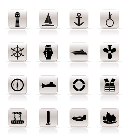 Simple Marine, Sailing and Sea Icons - Vector Icon Set Vector