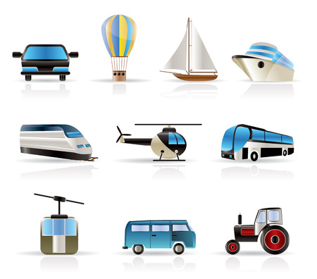 Transportation and travel icons - vector icon set Vector