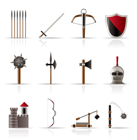 the middle ages:  medieval arms and objects icons - vector icon set