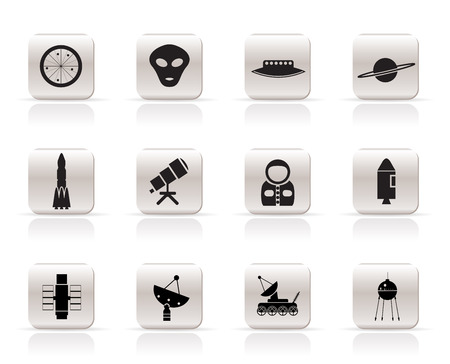 Simple Astronautics and Space Icons - Vector Icon Set 2 Vector