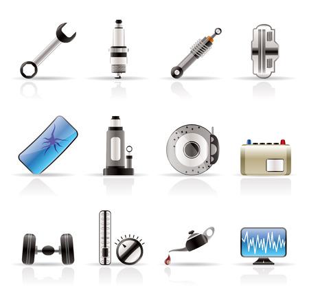Piezas de coches realistas y de Servicios de iconos - Vector Icon Set 1