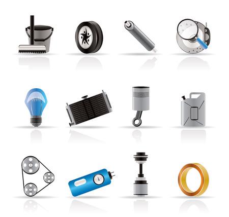 cerchione: Icone Auto Parts and Services realistiche - Vector Icon Set 2 Vettoriali