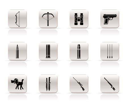 carbine: Hunting and arms  Icons - Vector Icon Set Illustration