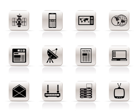 sputnik: Simple Communication and Business Icons - Vector Icon Set Illustration