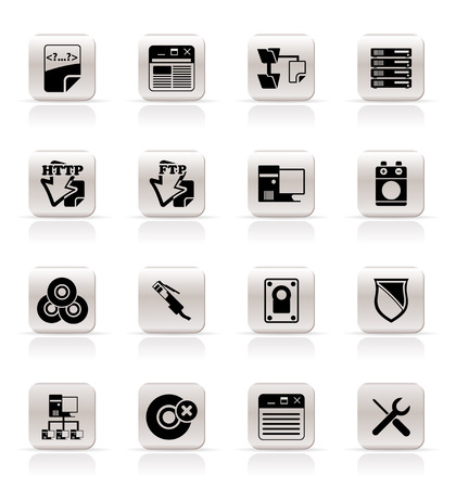 Simple Server Side Computer icons - Vector Icon Set Vector