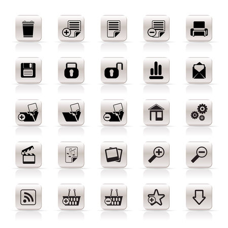 25 Simple Realistic Detailed Internet Icons - Vector Icon Set Vector