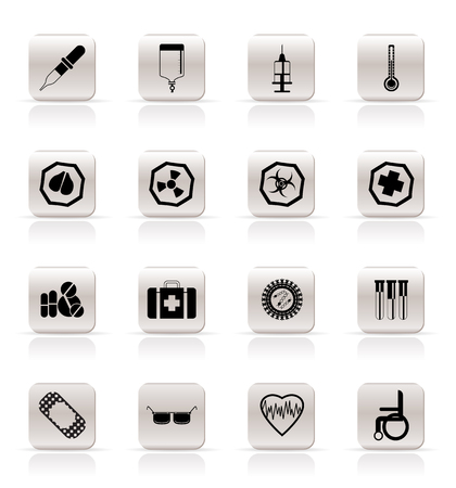 Simple medical themed icons and warning-signs - vector Icon Set Stock Vector - 5333290