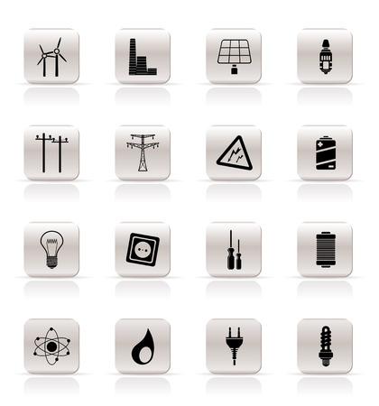 iconos energ�a: Simple electricidad, la energ�a y los iconos de la energ�a - icono de vectores se