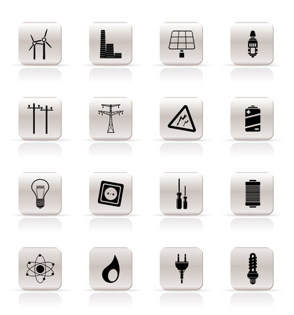 steam turbine: Simple Electricity,  power and energy icons - vector icon set