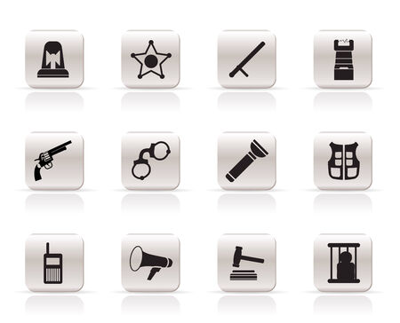 cuffs: Simple law, order, police and crime icons - vector icon set  Illustration
