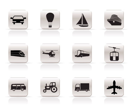 omnibus: Simple Transportation and travel icons - vector icon set Illustration