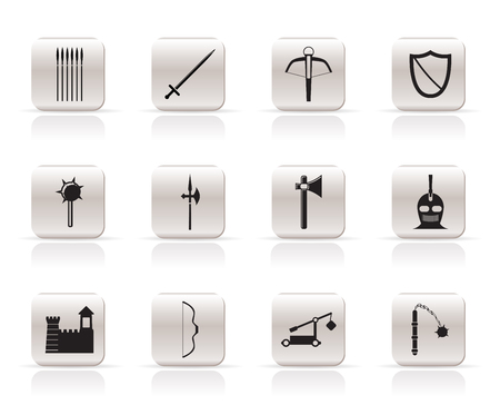 arbalest: Simple medieval arms and objects icons - vector icon set  Illustration