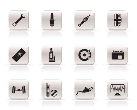 Eenvoudige auto-onderdelen en services pictogrammen - Vector Icon Set 1