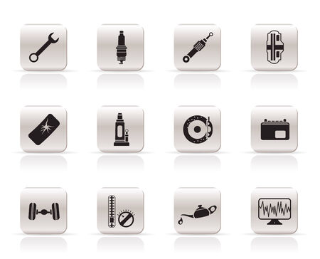 oil change: Simple Car Parts and Services icons - Vector Icon Set 1 Illustration